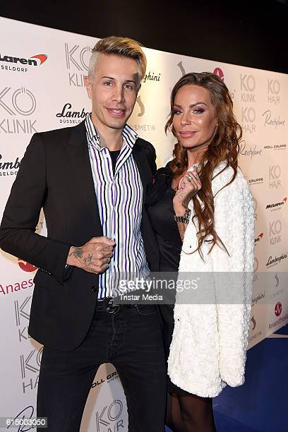 Florian Wess and Gina Lisa Lohfink attend the Opening Party of the Men's Beauty Clinic on October 15 2016 in Duesseldorf Germany