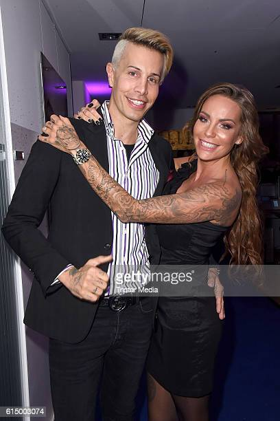 Florian Wess and Gina Lisa Lohfink attend the Opening Party of the Men's Beauty Clinic on October 15, 2016 in Duesseldorf, Germany.
