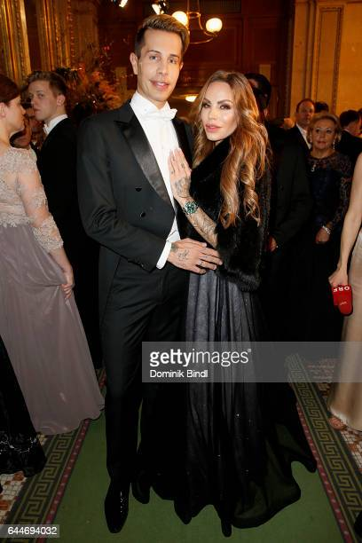 Florian Wess and Gina-Lisa Lohfink during the Opera Ball Vienna at Vienna State Opera on February 23, 2017 in Vienna, Austria.
