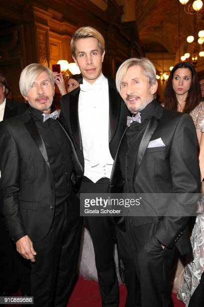 Florian Wess and his father Arnold Wess and his uncle Oskar Wess during the Semper Opera Ball 2018 at Semperoper on January 26 2018 in Dresden Germany
