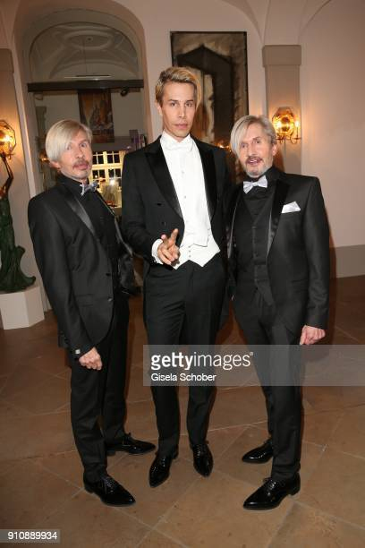 Florian Wess and his father Arnold Wess and his uncle Oskar Wess during the Semper Opera Ball 2018 reception at Hotel Taschenbergpalais near...