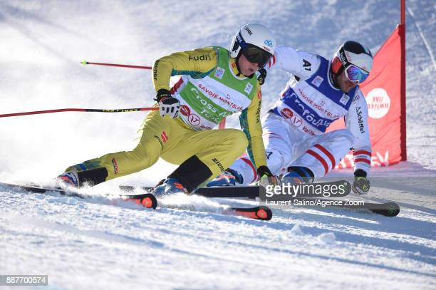 Florian Wilmsmann of Germany competes, Thomas Zangerl of Austria competes during the FIS Freestyle Ski World Cup, Men's and Women's Ski Cross on...