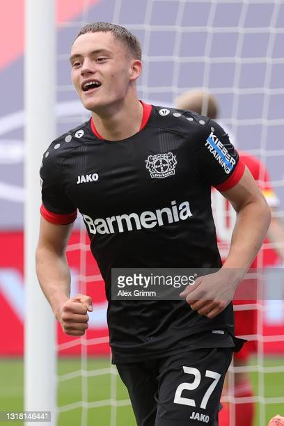 Florian Wirtz of Bayer 04 Leverkusen celebrates after scoring their side's first goal during the Bundesliga match between Bayer 04 Leverkusen and 1....