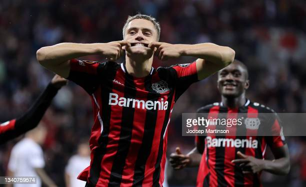 Florian Wirtz of Bayer 04 Leverkusen celebrates after scoring their side's second goal during the UEFA Europa League group G match between Bayer...