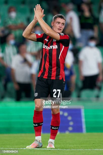 Florian Wirtz of Bayer Leverkusen reacts during the UEFA Europa League group G match between Real Betis and Bayer Leverkusen at Estadio Benito...