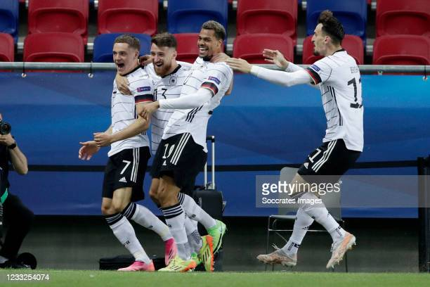Florian Wirtz of Germany U21 celebrates 0-1 during the EURO U21 match between Holland v Germany at the Mol Arena Sosto on June 3, 2021 in...