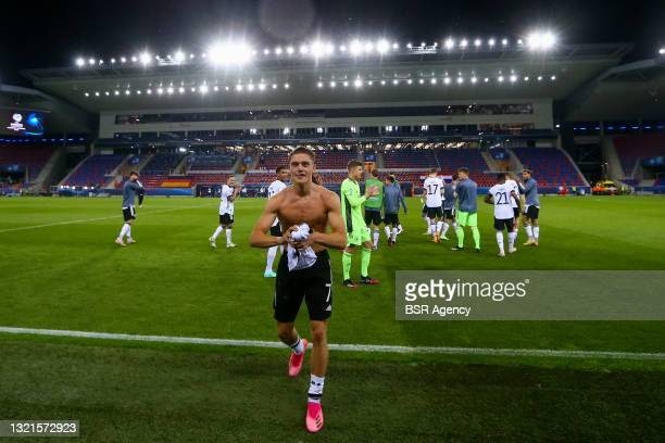 Florian Wirtz of Germany U21 celebrates reaching the final during the 2021 UEFA European Under-21 Championship Semi-Finals match between Netherlands...