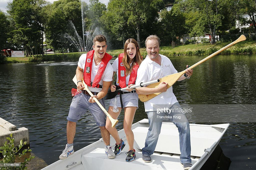 Florian Wuensche, Nicole Mieth and Till Demtroeder attend the Charity Event Benefitting Flood Victims on July 20, 2013 in Grafenau, Germany.