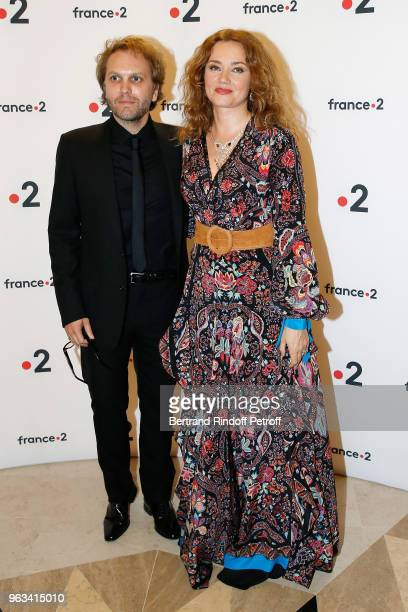 Florian Zeller and Marine Delterme attend Ceremonie des Molieres 2018 at Salle Pleyel on May 28 2018 in Paris France