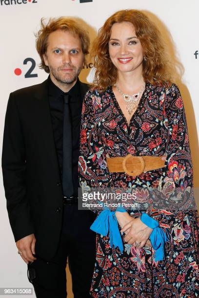 "Florian Zeller and Marine Delterme attend ""Ceremonie des Molieres 2018"" at Salle Pleyel on May 28, 2018 in Paris, France."