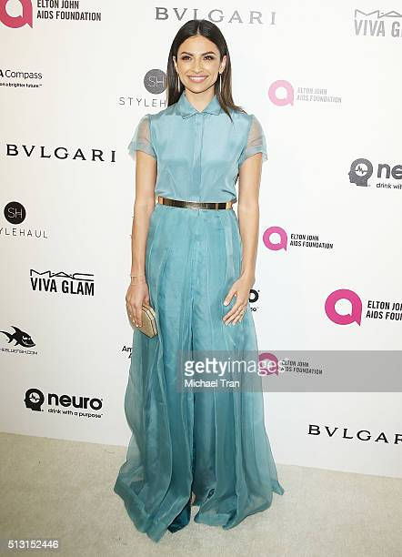 Floriana Lima arrives at the 24th Annual Elton John AIDS Foundation's Oscar viewing party held at West Hollywood Park on February 28 2016 in West...