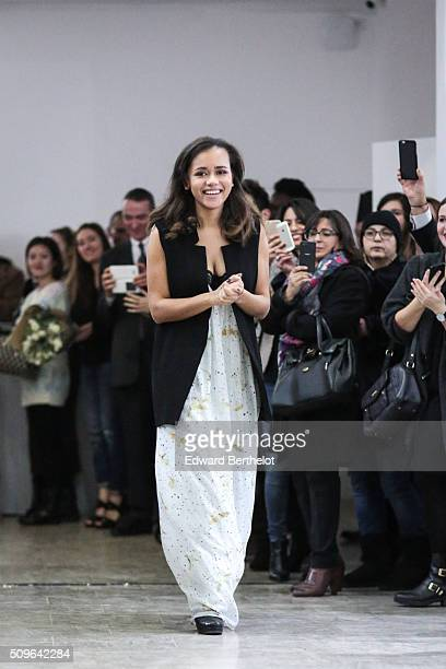 Floriane Fosso poses after her Fall Winter 2016/2017 show on February 11 2016 at Galerie Joseph in Paris France