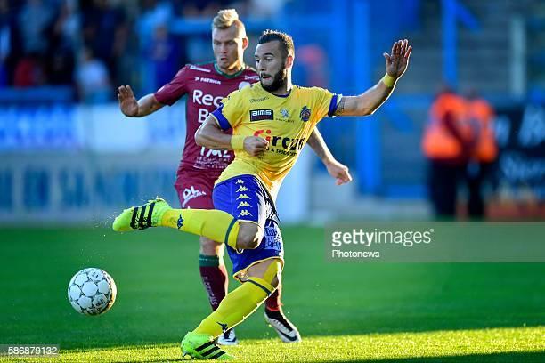 Floriano Vanzo midfielder of Beveren is challenged by Brian Hamalainen defender of SV Zulte Waregem during the Jupiler Pro League match between...