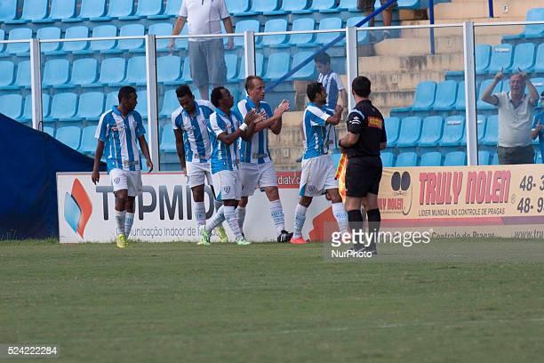 Florian��polis/SC Jogadores do Ava�� comemoram o gol marcado pelo jogador Pablo pela 1�� rodada do turno do Quadrangular do Campeonato Catarinense de...