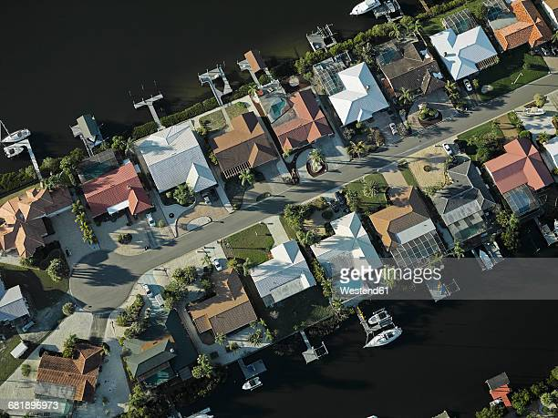 USA, Florida, Aerial of suburbs along the western shore of Tampa Bay