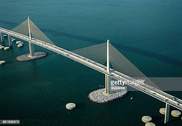 usa, florida, aerial photograph of the sunshine skyway bridge over tampa bay - sunshine skyway bridge stock photos and pictures