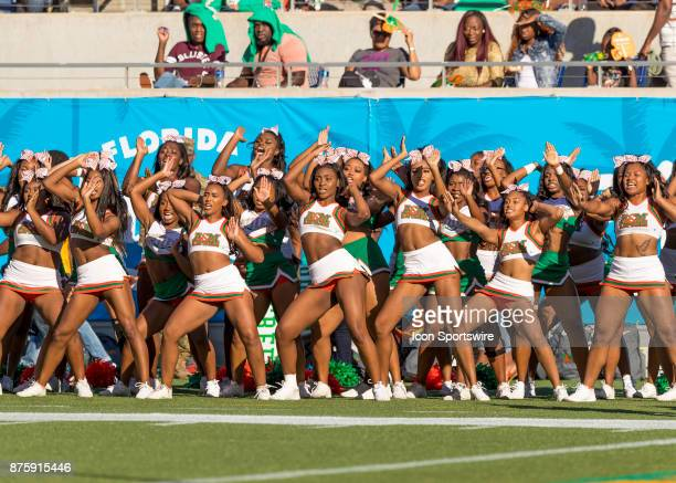 Florida AM Rattlers cheerleaders during the football game between the Florida AM and BethuneCookman on November 18 2017 at Camping World Stadium in...