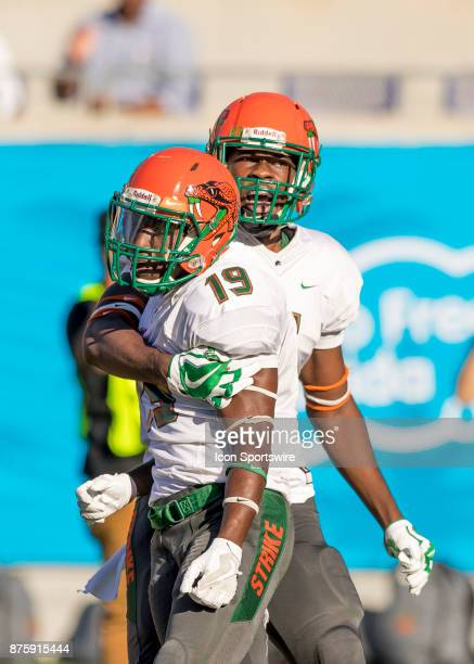Florida AM Rattlers wide receiver Kareem Smith celebrates his touchdown during the football game between the Florida AM and BethuneCookman on...