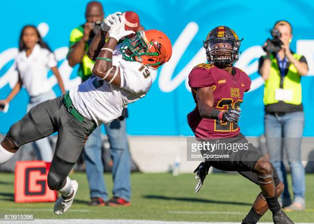 Florida AM Rattlers wide receiver Kareem Smith scores a touchdown during the football game between the Florida AM and BethuneCookman on November 18...