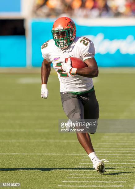 Florida AM Rattlers wide receiver Ricky Henrilus runs for a first down during the football game between the Florida AM and BethuneCookman on November...