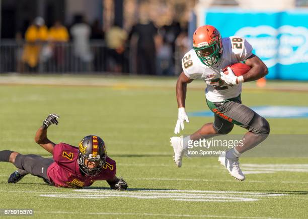 Florida AM Rattlers wide receiver Ricky Henrilus turns the corner for extra yards during the football game between the Florida AM and BethuneCookman...