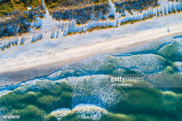 Florida Anna Maria Island Holmes Beach Aerial of beach and waves on Gulf of Mexico