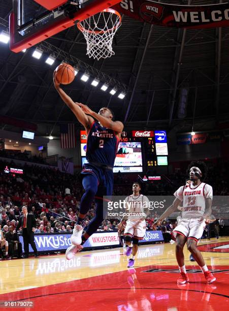 Florida Atlantic Owls guard Justin Massey makes the easy fast break basket during the 1st half of the Florida Atlantic Owls game versus the Western...