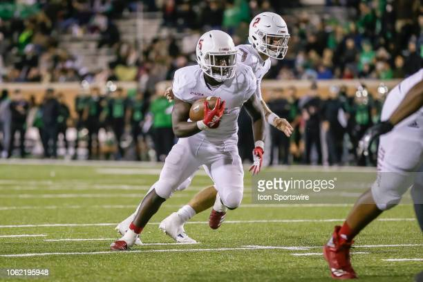 Florida Atlantic Owls running back Devin Singletary runs towards the line of scrimmage during the game between the North Texas Mean Green and the...