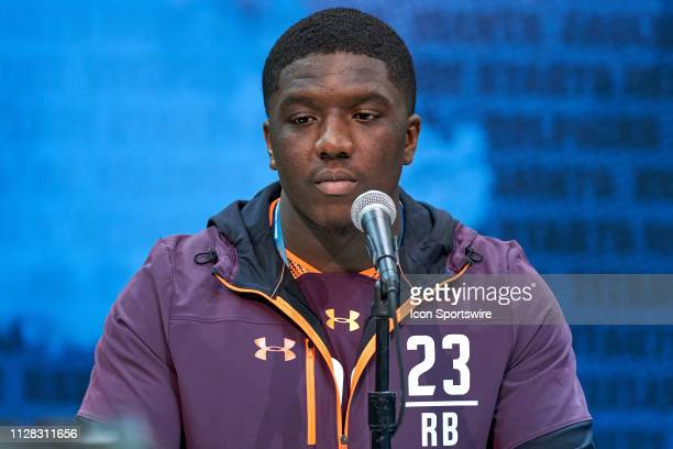 Florida Atlantic running back Devin Singletary answers questions from the media during the NFL Scouting Combine on February 28 2019 at the Indiana...