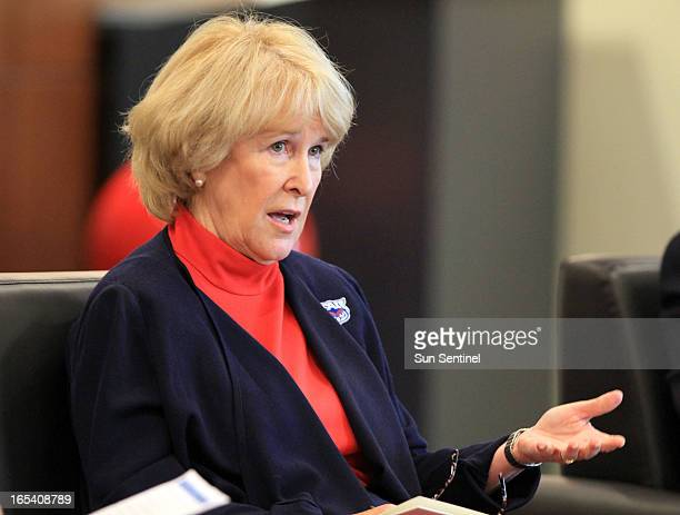 Florida Atlantic University president Mary Jane Saunders answers questions from students in the wake of February 2013 news that the school stadium's...