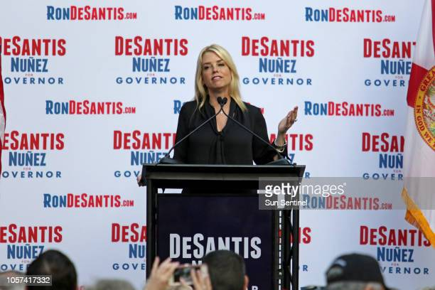 Florida Attorney General Pam Bondi on stage during a rally for Republican gubernatorial nominee Ron DeSantis in Boca Raton Fla on the final day of...