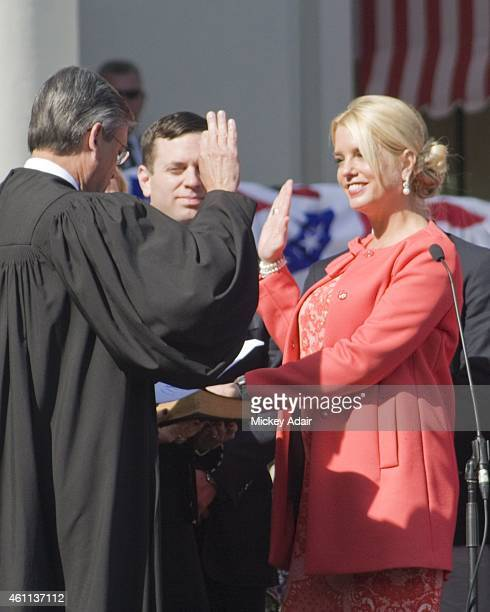 Florida Attorney General Pam Bondi takes the oath of office at the inaugural of Florida Governor Rick Scott at the Historic Florida Capitol Museum