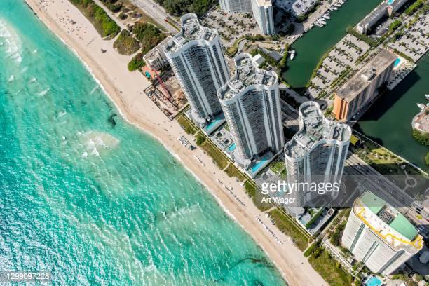 florida beach resort aéreo - fort lauderdale - fotografias e filmes do acervo