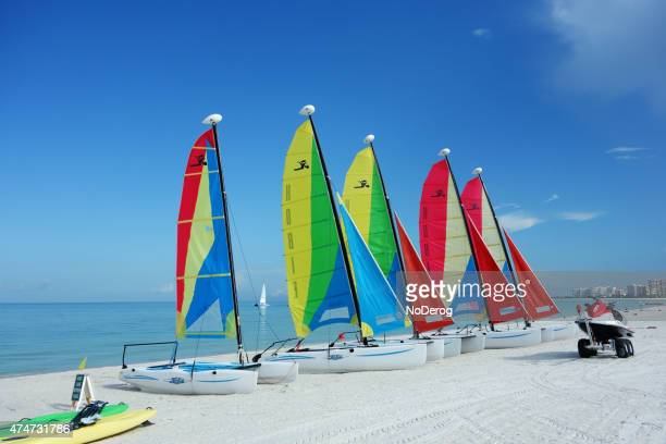 florida beach with hobie cat catamaran sailboats - marco island stock pictures, royalty-free photos & images