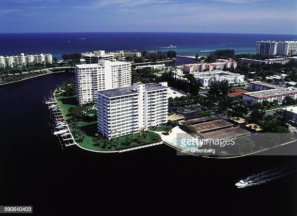 Florida Boca Raton Intracoastal Waterway Inlet High Rises Along Atlantic Ocean Aerial View