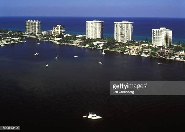 Florida Boca Raton Lake Along Intracoastal Waterway High Rises Along Atlantic Ocean