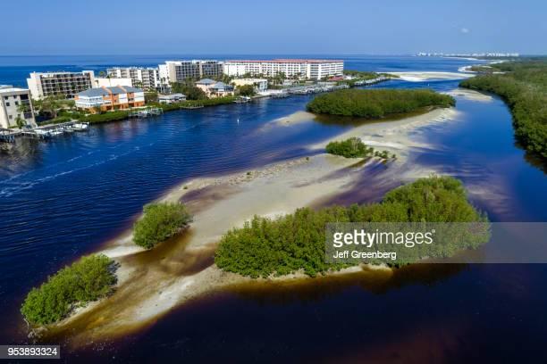 Florida Bonita Springs Big Hickory Pass Estero Bay Aquatic Preserve aerial view above residences Little Hickory Island