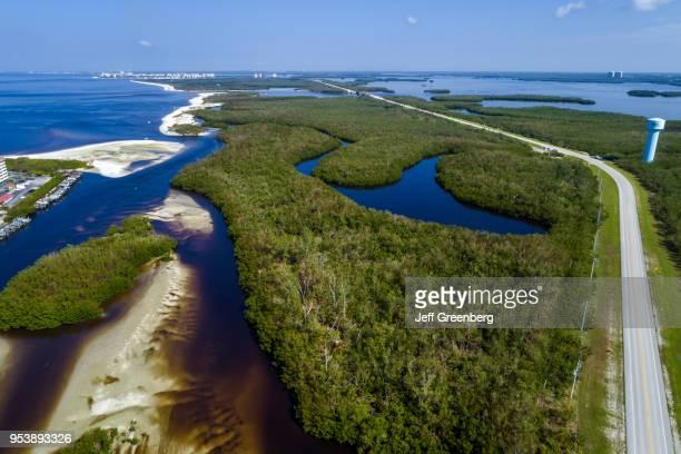 Florida Bonita Springs Big Hickory Pass Estero Bay Aquatic Preserve aerial view above Estero Boulevard Bay Island