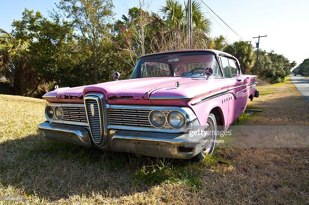 Florida, Cedar Key, Pink Edsel Automobile : News Photo