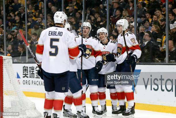 Florida celebrates the eventual game winner from Florida Panthers left wing Maxim Mamin during a game between the Boston Bruins and the Florida...