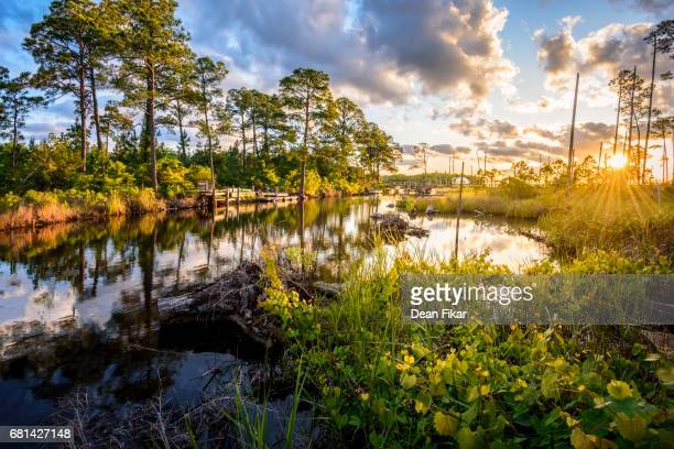 florida coastal inlet at dawn - gulf coast states stock pictures, royalty-free photos & images