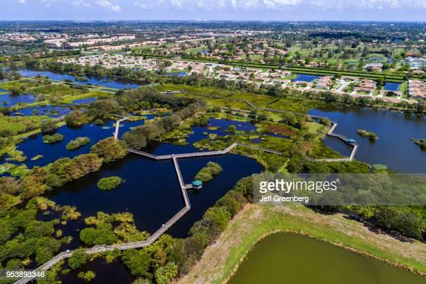 Florida Delray Beach Wakodahatchee Nature Wetlands raised boardwalk trail aerial view