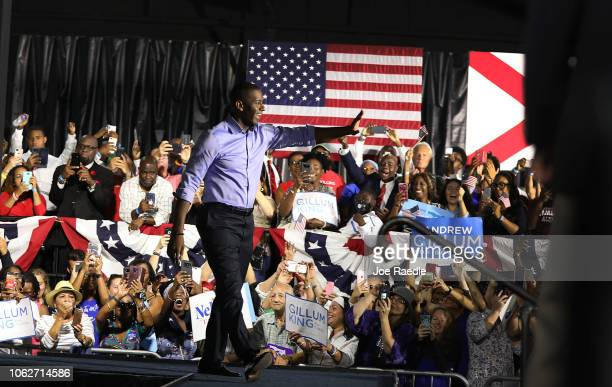 Florida Democratic gubernatorial candidate Andrew Gillum arrives on stage to address the crowd during a campaign event at the Ice Palace film studios...