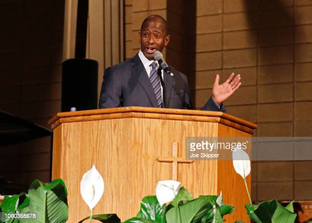 Florida Democratic gubernatorial candidate Andrew Gillum attends a service to advocate for a vote recount at the New Mount Olive Baptist Church on...