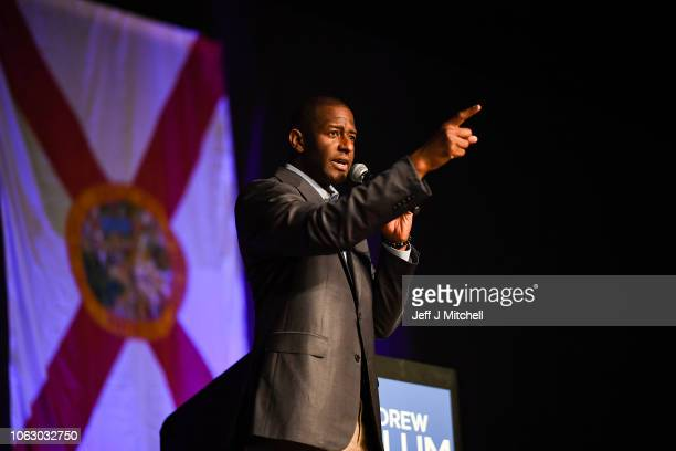 Florida Democratic gubernatorial candidate Andrew Gillum attends a campaign rally at the CFE arena on November 3 2018 in Orlando Florida Gillum the...