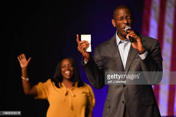 Florida Democratic gubernatorial candidate Andrew Gillum is joined by his wife R Jai Gillum at a campaign rally in the CFE arena on November 3 2018...