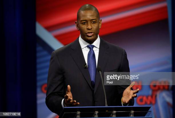 Florida Democratic gubernatorial candidate Andrew Gillum speaks during a CNN debate against Republican gubernatorial candidate Ron DeSantis Sunday...
