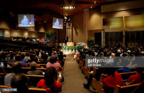 Florida Democratic gubernatorial candidate Andrew Gillum speaks at a service to advocate for a vote recount at the New Mount Olive Baptist Church on...