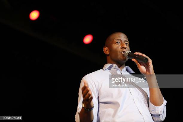 Florida Democratic gubernatorial candidate Andrew Gillum speaks to supporters on the last day of early voting on November 04 2018 in Miami Florida...