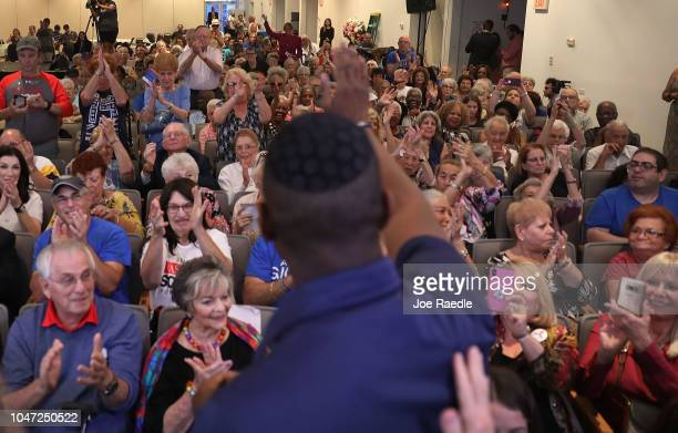 Florida Democratic gubernatorial nominee Andrew Gillum arrives and acknowledges the crowd at a political event at the Century Pines Jewish Center on...